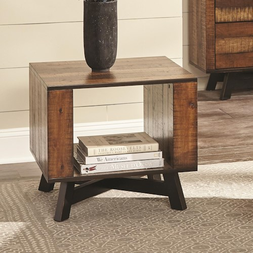 Scott Living 70563 Rustic End Table with Metal X-Base