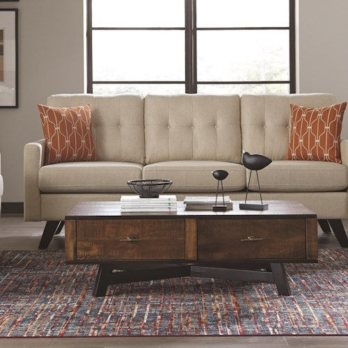 Scott Living 70563 Rustic Coffee Table with Metal X-Base