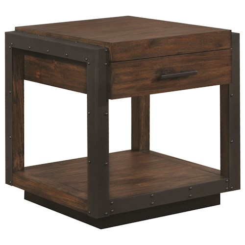 Scott Living 70565 Industrial End Table With Black Metal Frame