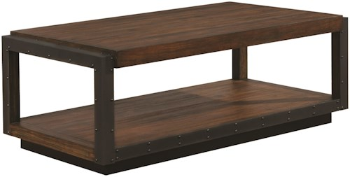 Scott Living 70565 Industrial Coffee Table with Black Frame
