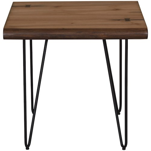 Scott Living 70566 Live Edge End Table with Hairpin Legs