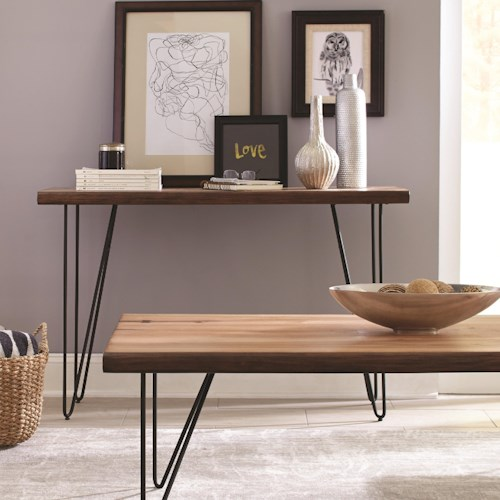Scott Living 70566 Live Edge Sofa Table with Hairpin Legs