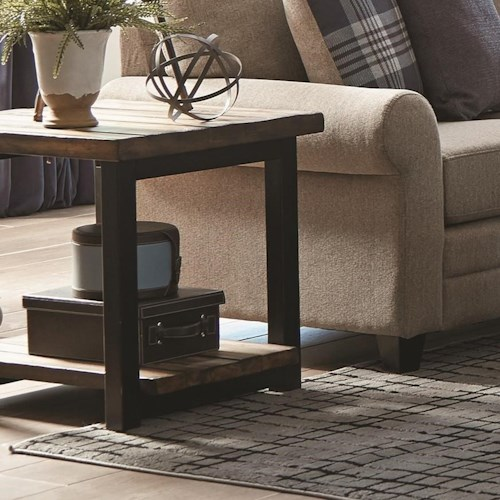 Scott Living 70567 Rustic Planked Top End Table
