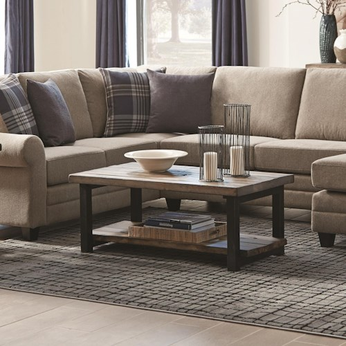 Scott Living 70567 Rustic Planked Top Coffee Table