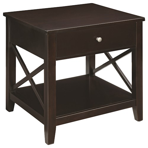 Scott Living 70568 Transitional End Table with X-Supports