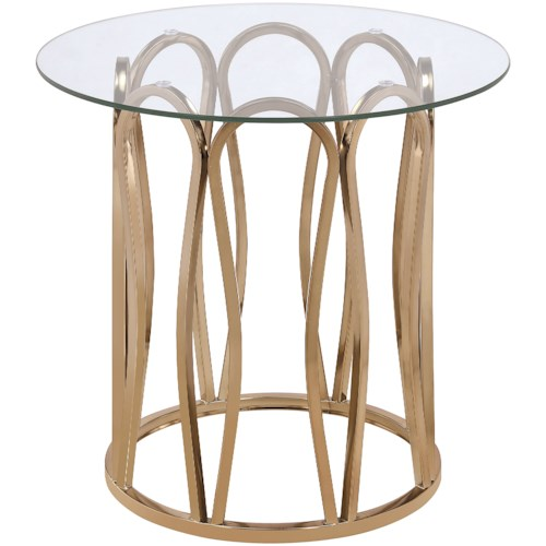 Scott Living 70578 Modern Round End Table with Metal Base