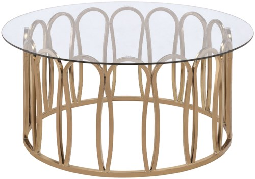 Scott Living 70578 Modern Round Coffee Table with Metal Base