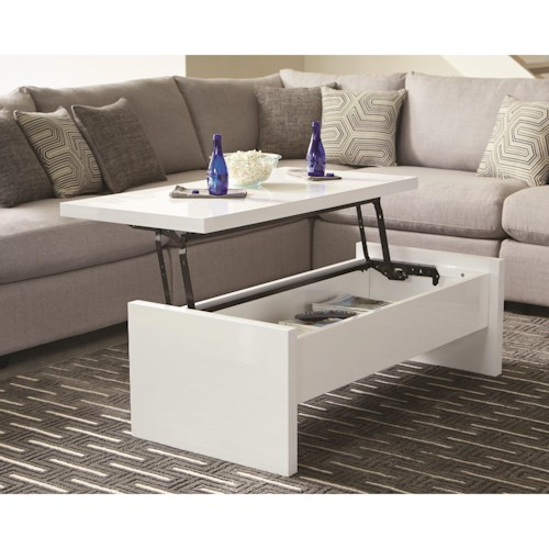 Scott Living 72124 Modern Glossy Lift Top Coffee Table