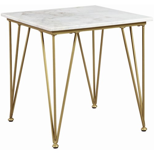 Scott Living 72145 Contemporary End Table with Marble Top