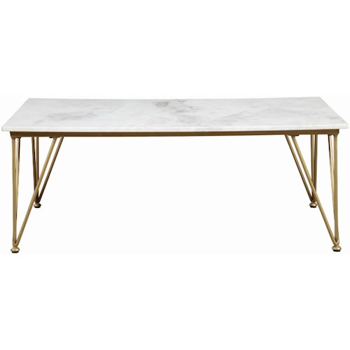 Scott Living 72145 Contemporary Coffee Table with Marble Top