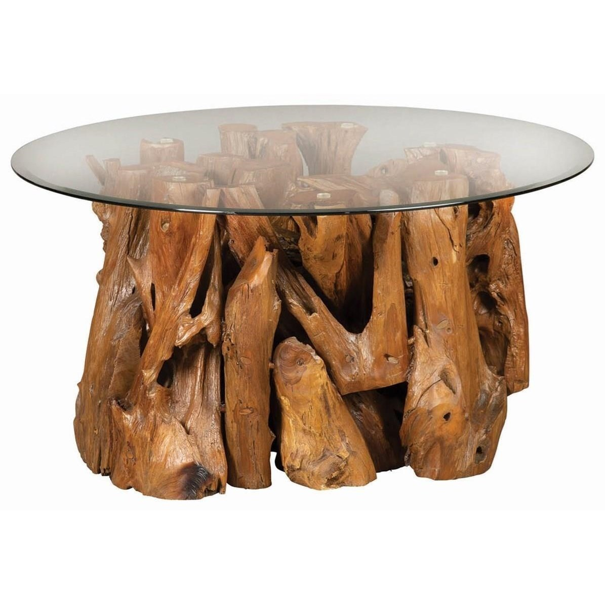 721668 Rustic Teak Root Coffee Table With Glass Top By Scott Living