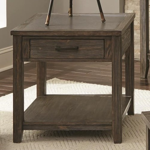 Scott Living 72241 Transitional End Table with Drawer