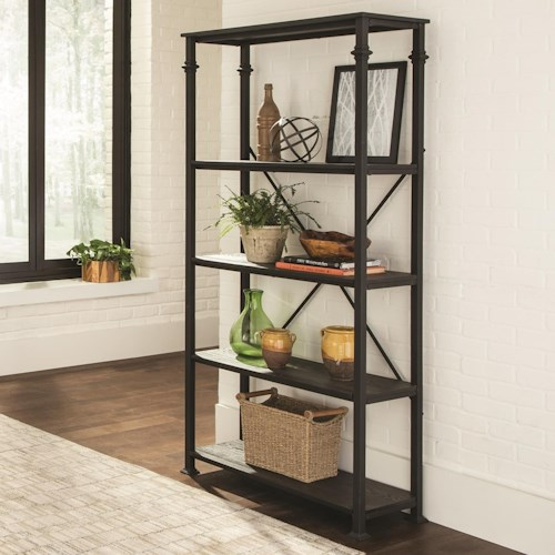 Scott Living 8014 Industrial Four Shelf Bookcase