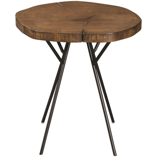 Scott Living 90335 Tree Trunk Slab Accent Table with Metal Legs