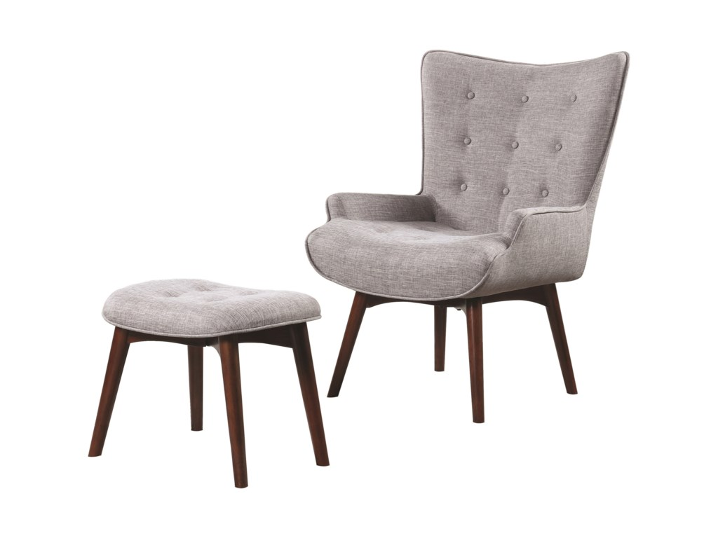 Scott Living 903820 Mid-Century Modern Accent Chair With Ottoman ...