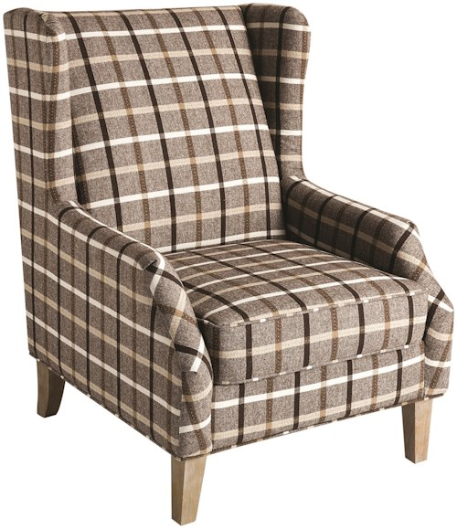 Scott Living 904052 Upholstered Wingback Chair with Plaid Design