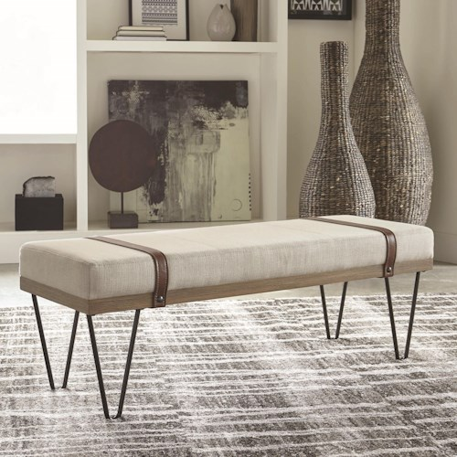 Coaster 910240 Upholstered Bench with Hairpin Legs