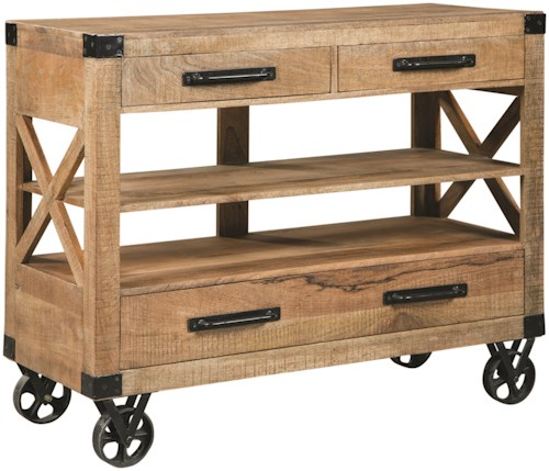 Scott Living 950711 Rustic Accent Cabinet with Industrial Casters
