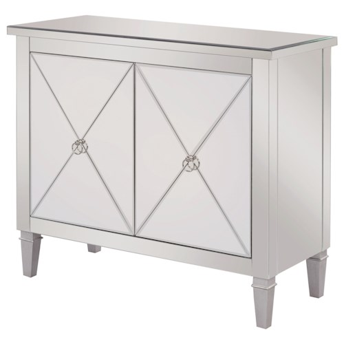 Scott Living 950742 Accent Cabinet with Mirrored Panels