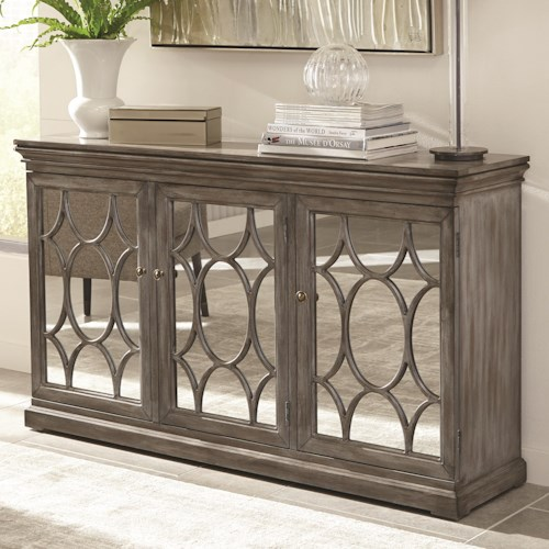 Scott Living 950777 Accent Cabinet with Three Mirrored Doors Accented with Lattice