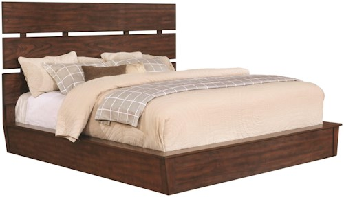 Scott Living Artesia Queen Platform Bed with Plank Headboard