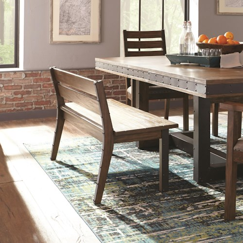 Scott Living Atwater Industrial Dining Bench with Metal Studded Accents