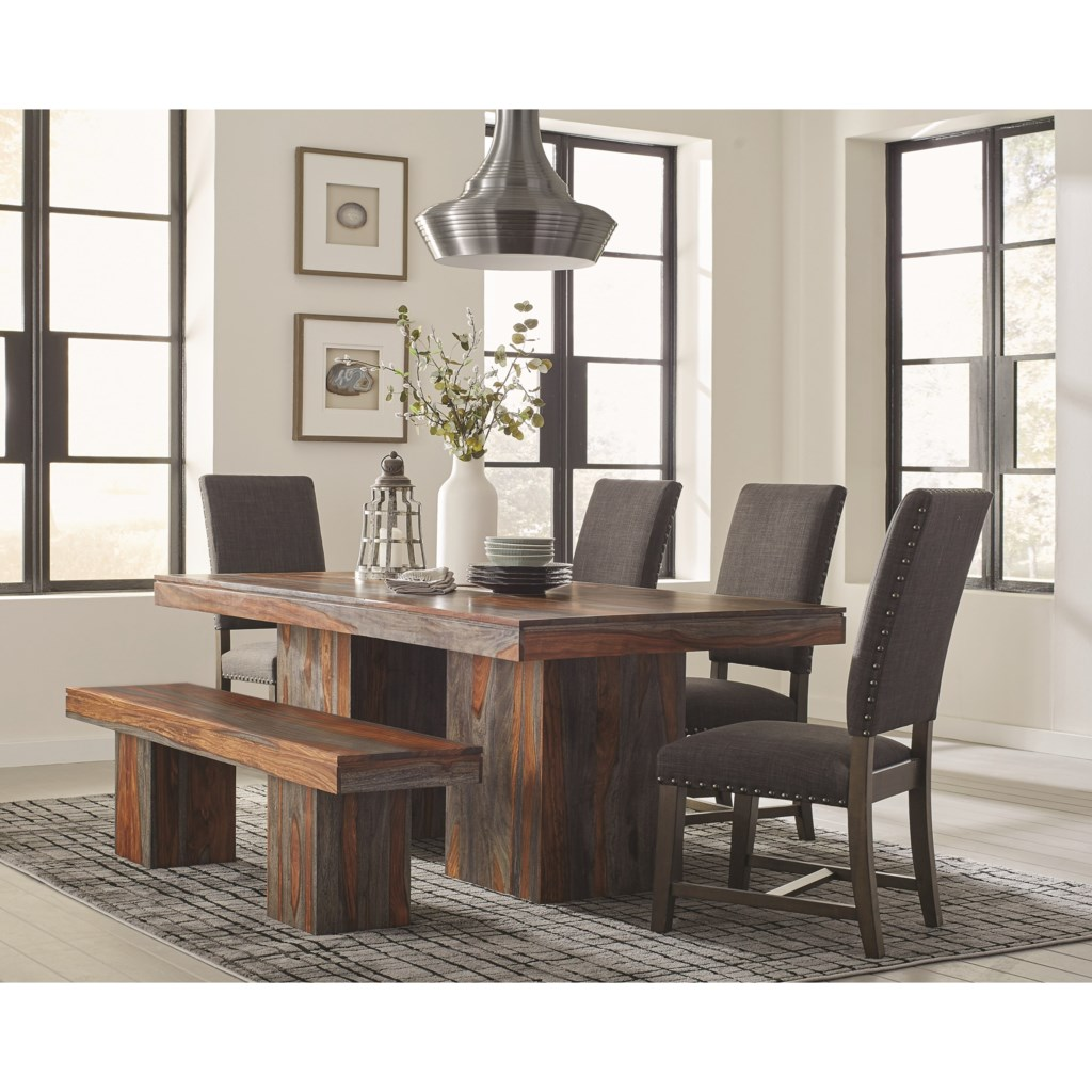 Scott living binghamton rustic dining table set with bench