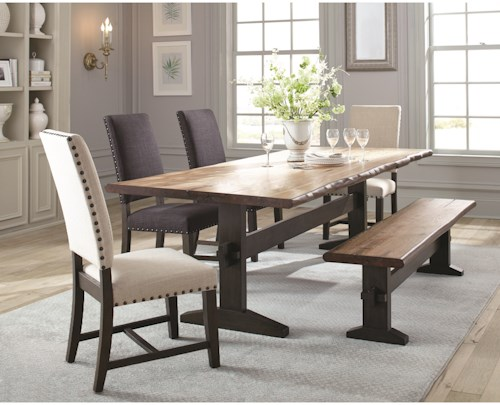 Scott Living Burnham Rustic Dining Table Set with Bench