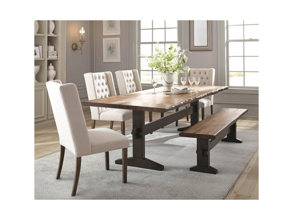 Burnham Rustic Live Edge Dining Table Set with Bench by Scott Living at  Value City Furniture