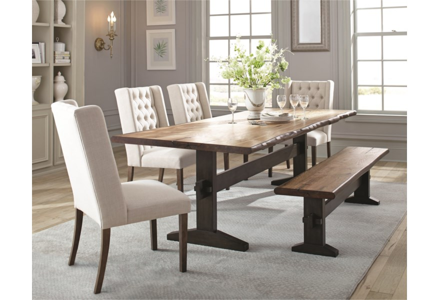 finest selection 4e390 d2863 Burnham Rustic Live Edge Dining Table Set with Bench by Scott Living at  Standard Furniture