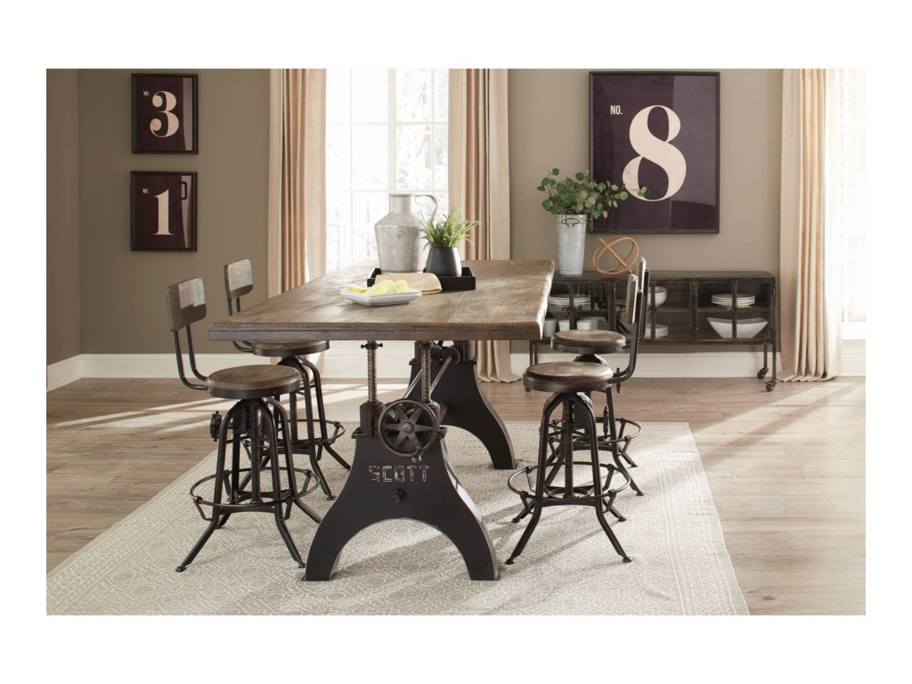 Scott Living Clooney Industrial 5 Piece Dining Set With Adjustable