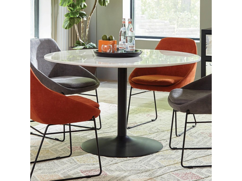 Scott Living Dash Contemporary Dining Table With Marble Top Red Knot Tables