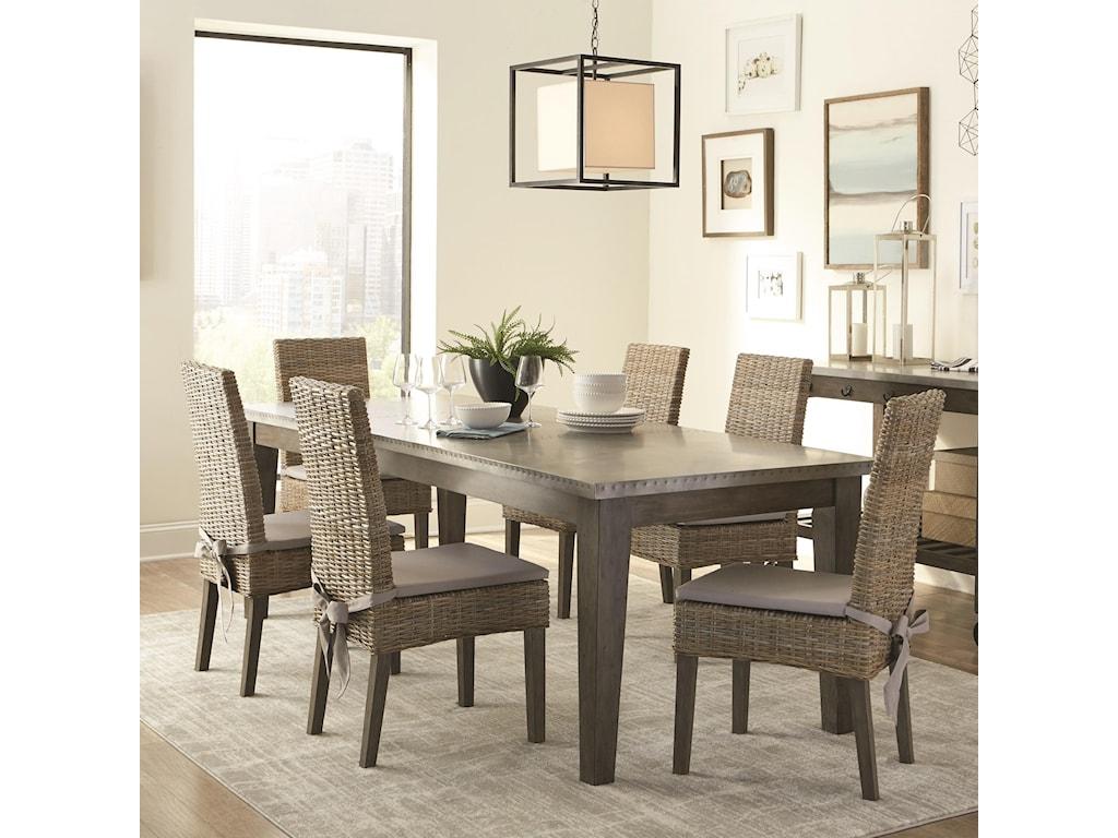 Scott Living Davenport Rustic Table and Rattan Chair Set | Belfort ...