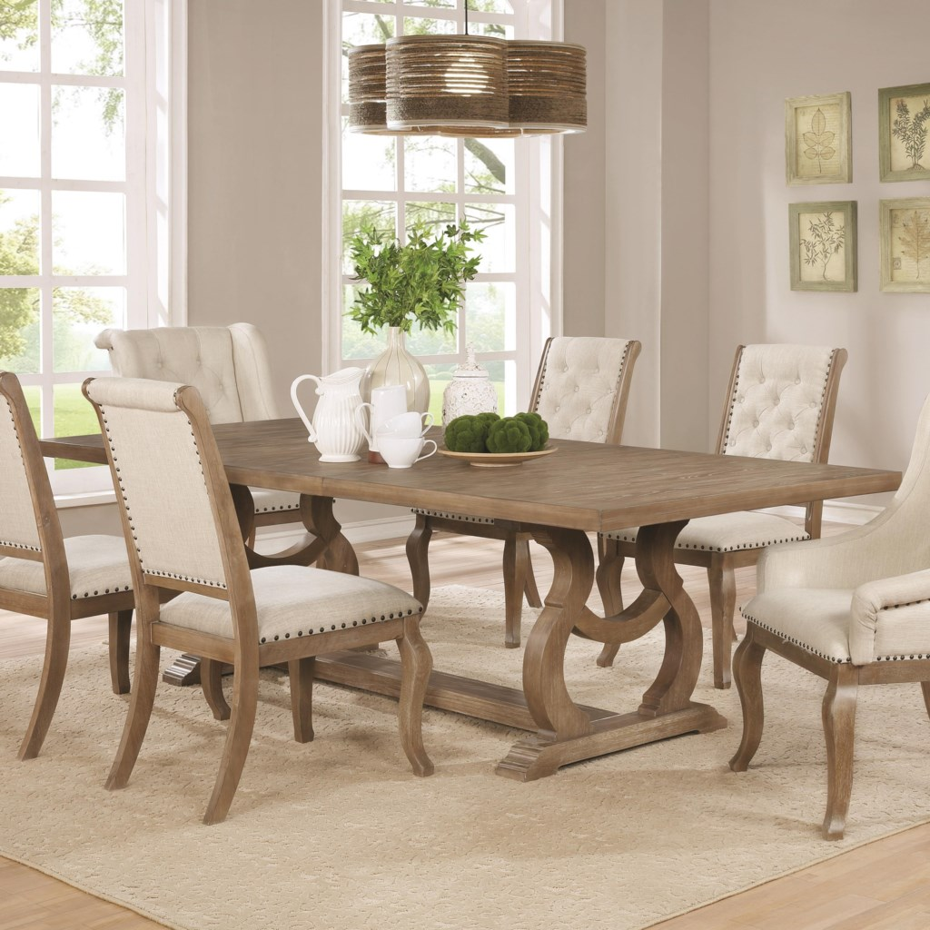 Glen cove traditional dining table with trestle by scott living