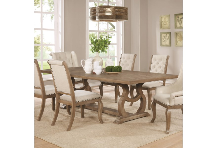 Glen Cove Traditional Dining Table with Trestle by Scott Living at Standard  Furniture