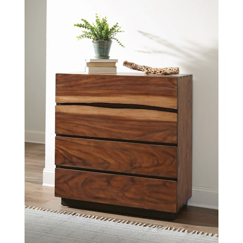 Coaster Winslow Rustic 4 Drawer Chest with Live Edge Look and Felt-Lined Top Drawer