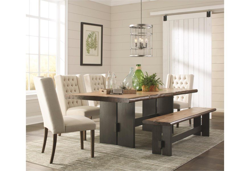 best website 4e400 ac451 Marquette Rustic Live Edge Dining Table Set with Bench by Scott Living at  Standard Furniture