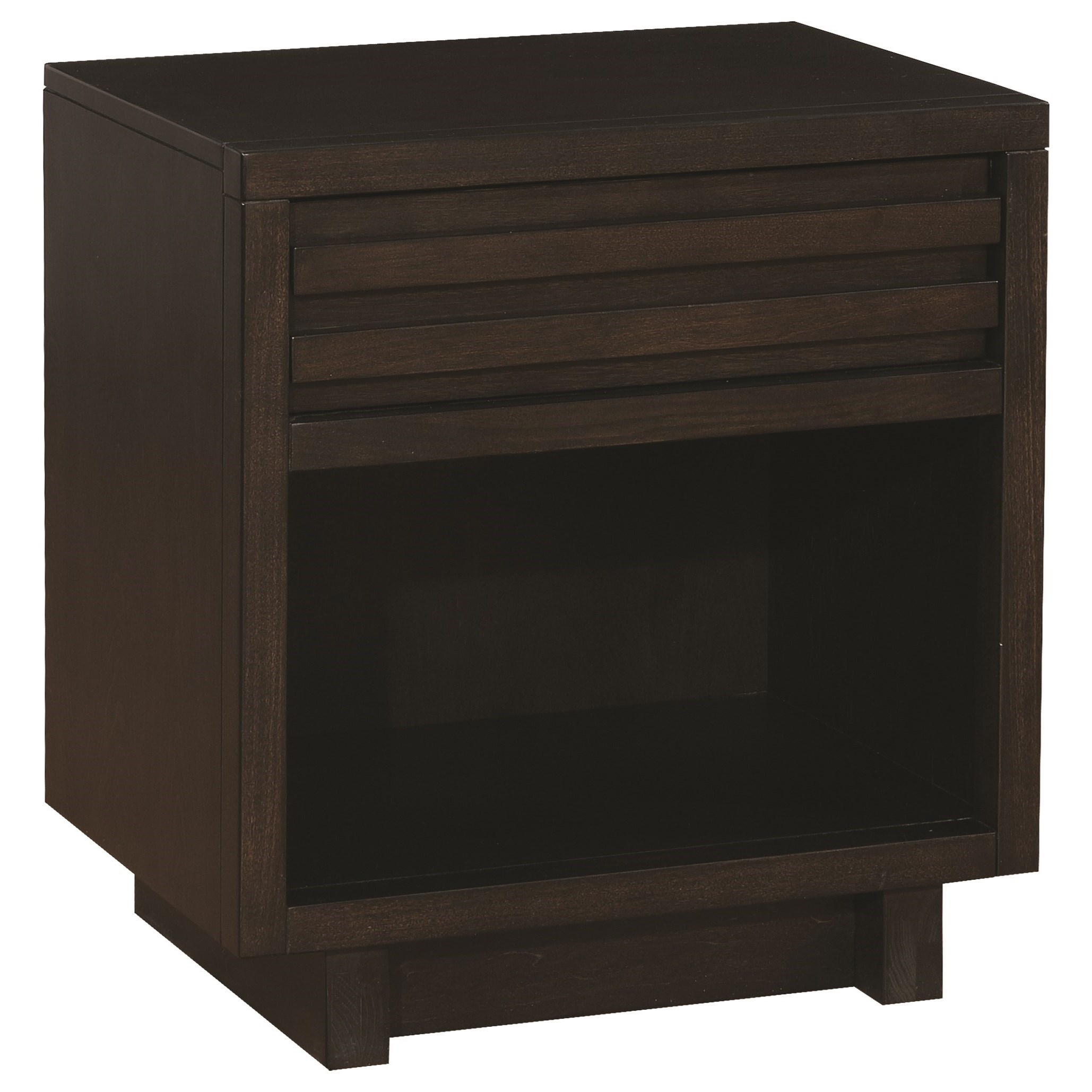 Scott Living Matheson Contemporary Nightstand With Finger Tip Drawer |  Belfort Furniture | Night Stands