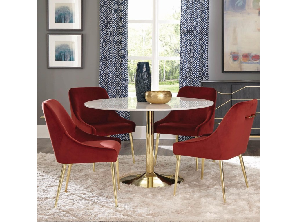 Scott Living Steele 5 Piece Glam Dining Set With Marble Table And