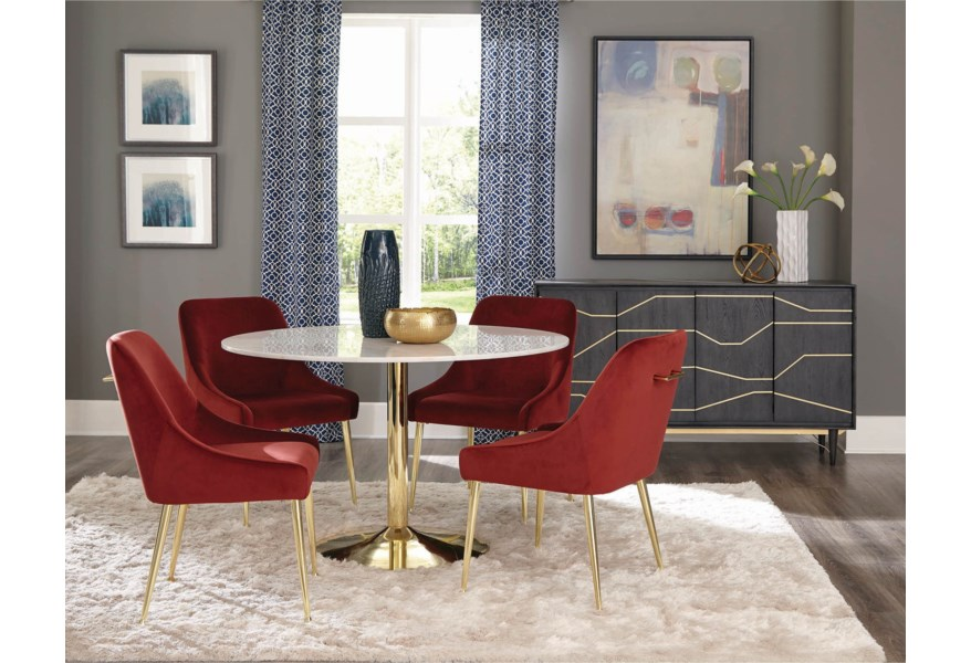 Coaster Steele 5 Piece Glam Dining Set with Marble Table and ...
