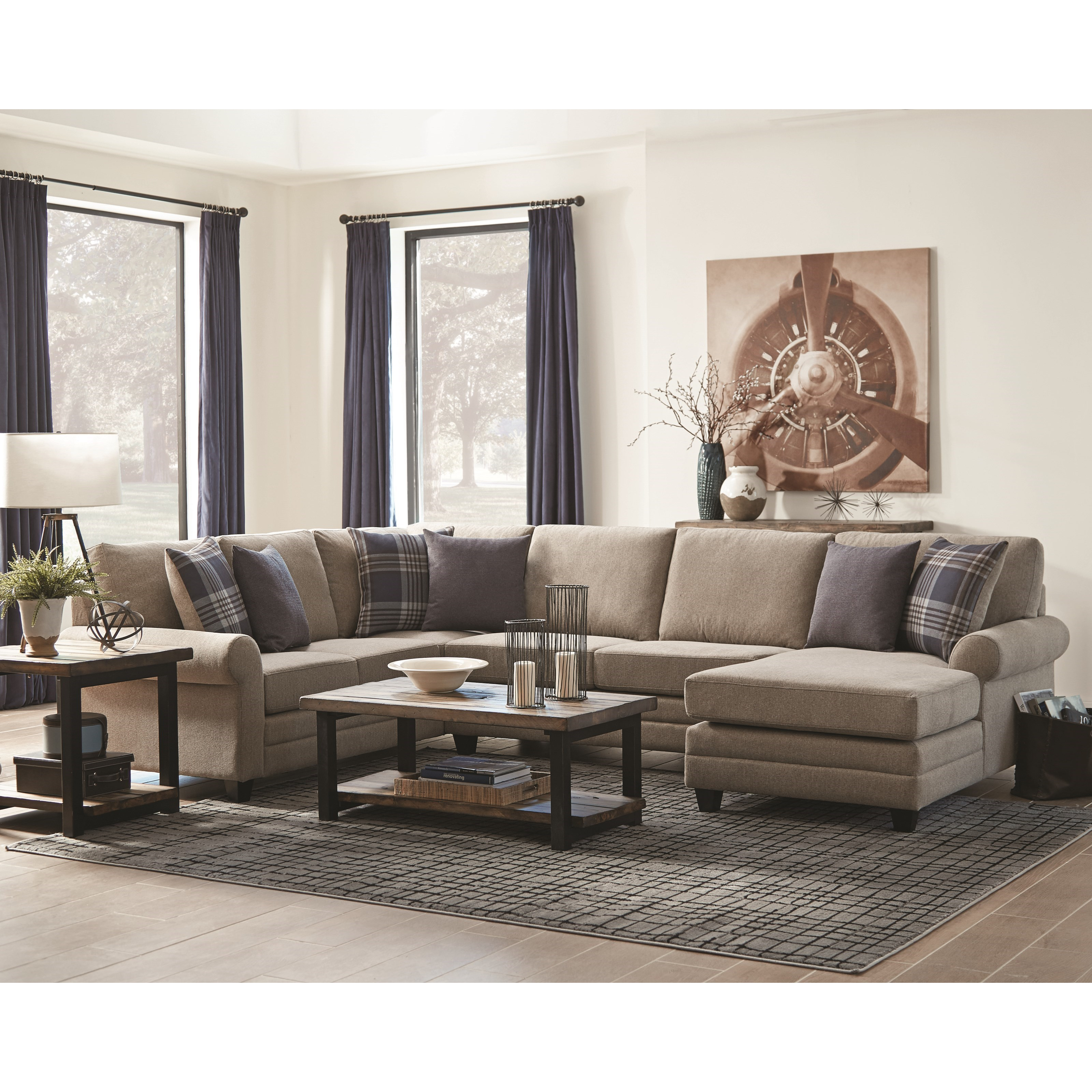 Scott Living Summerland Chaise Sectional With Rolled Armrests