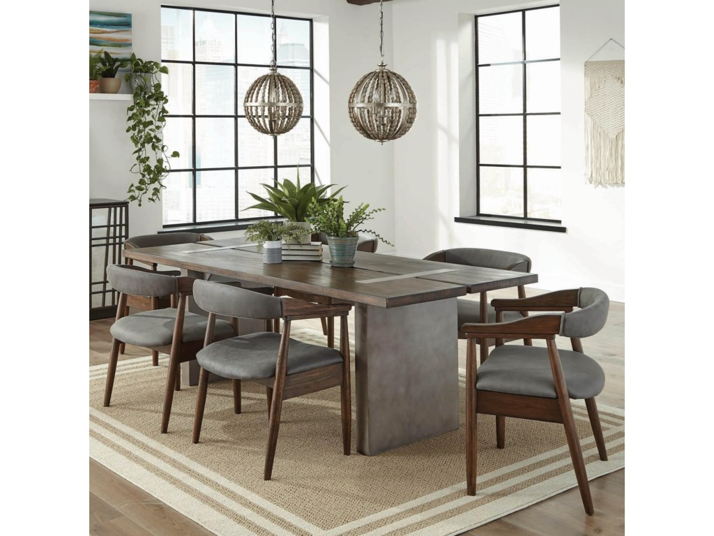 Twain industrial 7 piece dining set with concrete composite table and faux leather chairs by scott living