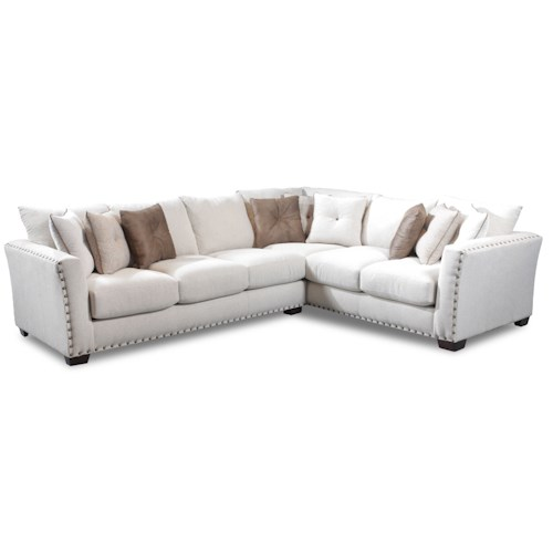 Seminole Furniture 1480 Transitional Sectional with Track Arms and Nailhead Trim
