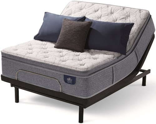 Serta Bellagio Grandezza Plush PT King Plush Pillow Top Hybrid Mattress and Divided King Motionplus Adjustable Foundation
