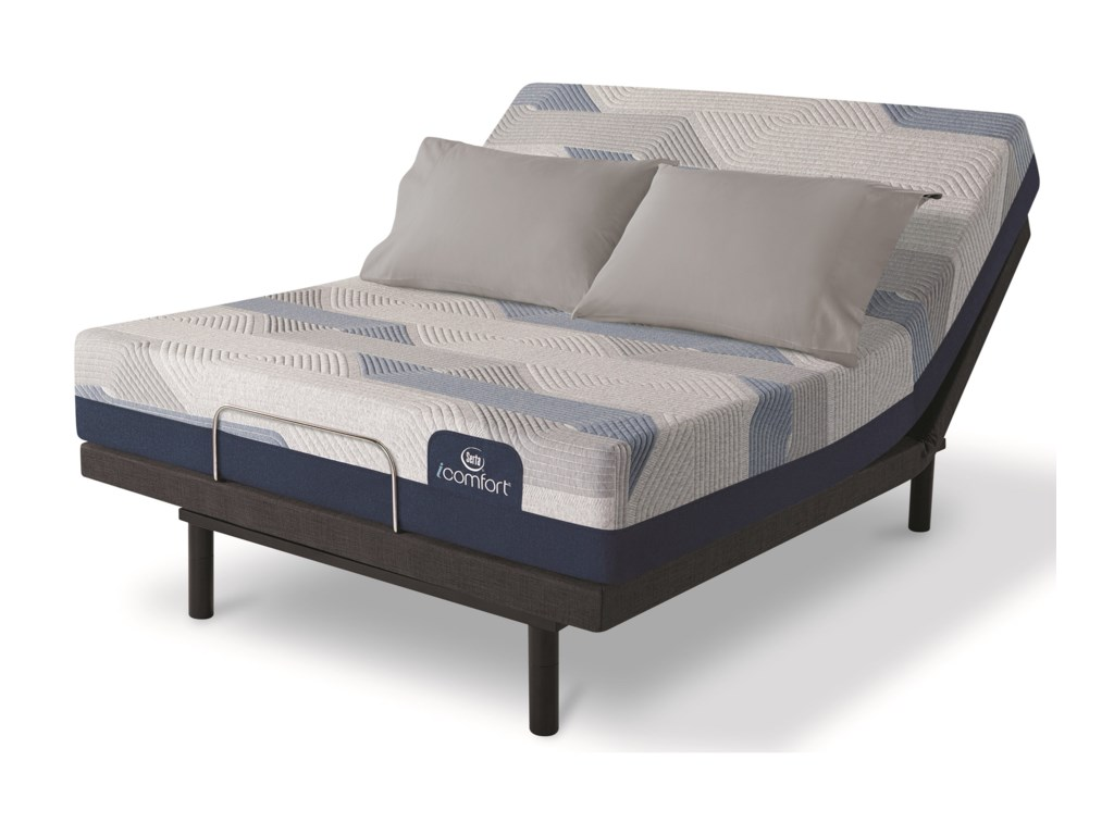 Serta Blue 100CT Gentle Firm 2019Twin XL Gel Memory Foam Adj Set