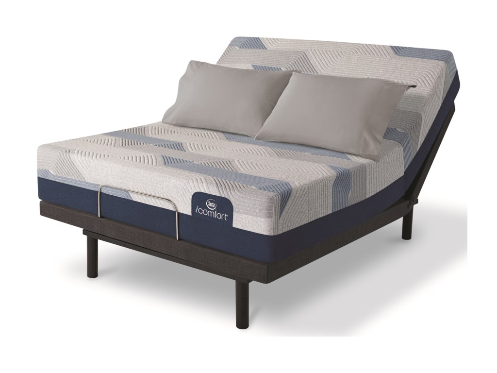 Serta Blue 300CT Plush 2019King Memory Foam Adj Set