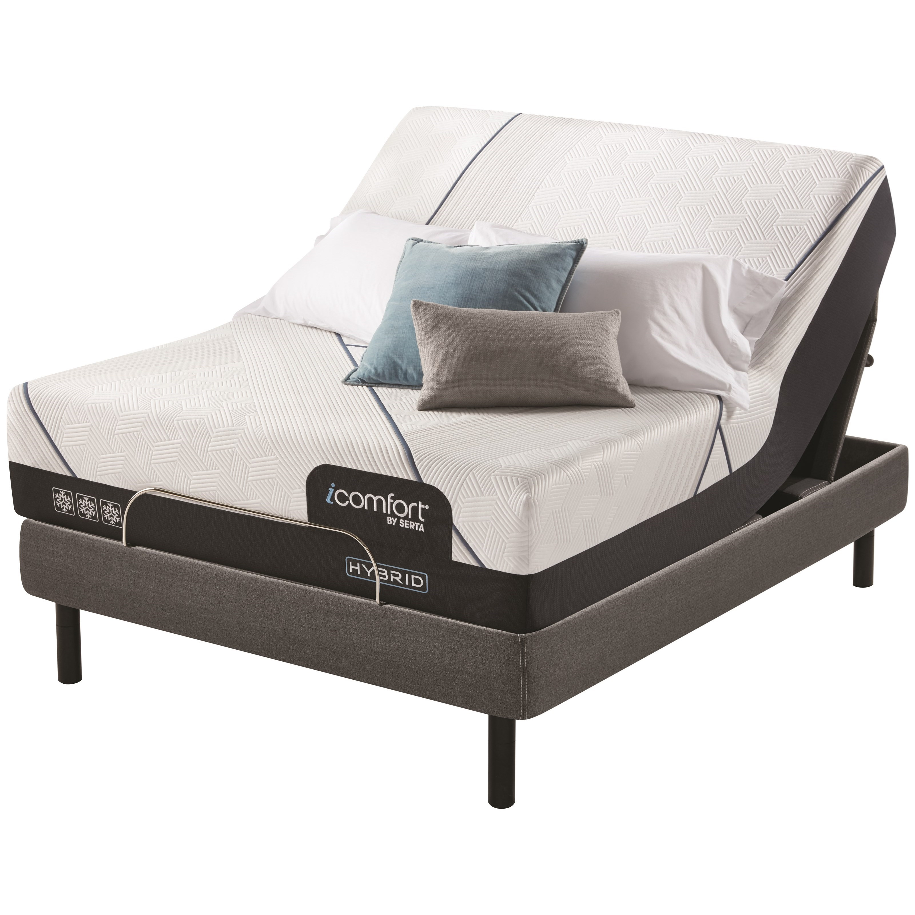 "King 14"" Plush Hybrid Mattress and 1 Pc Divided King Motion Perfect IV Adjustable Base"