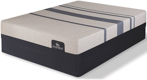 Serta iComfort Blue 300 Firm Twin Extra Long Firm Gel Memory Foam Mattress and Low Profile Box