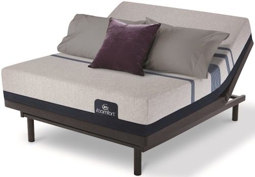 Serta iComfort Blue 500 Plush King Plush Gel Memory Foam Mattress and Divided King Motion Essentials III Adjustable Base