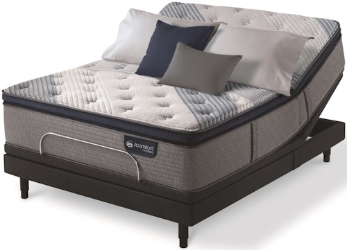 Serta iComfort Hybrid Blue Fusion 1000 Lux Firm PT King Luxury Firm Pillow Top Hybrid Mattress and Motion Essentials III Adjustable Base